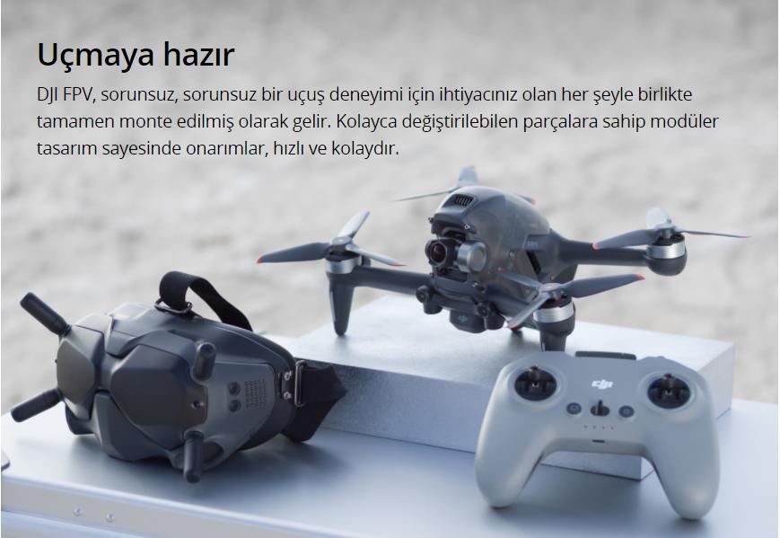 Uçmaya hazır DJI FPV, sorunsuz, sorunsuz bir uçuş deneyimi için ihtiyacınız olan her şeyle birlikte tamamen monte edilmiş olarak gelir. Kolayca değiştirilebilen parçalara sahip modüler tasarım sayesinde onarımlar, hızlı ve kolaydır.